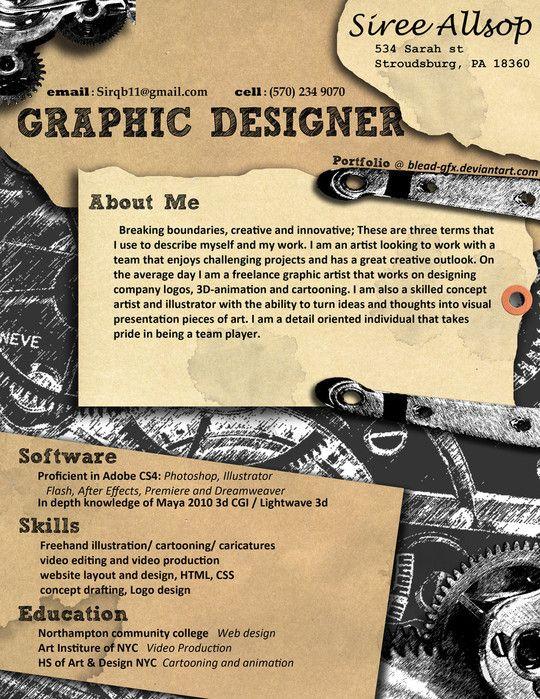 36 best Art Resumes images on Pinterest Creative resume design - matte painter sample resume