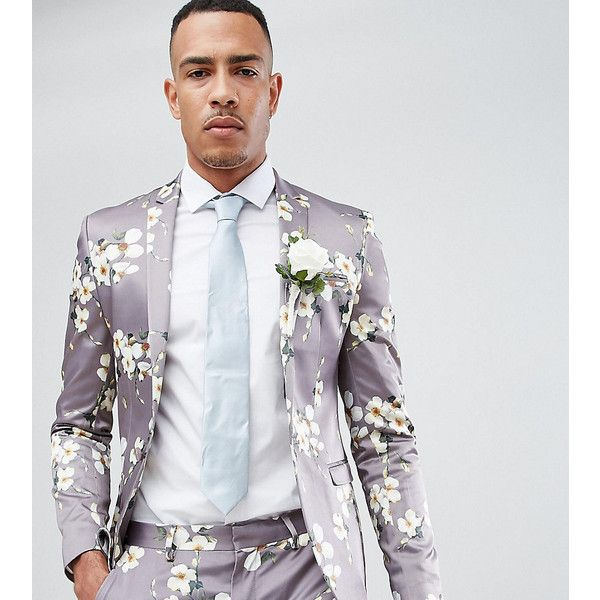 ASOS TALL Wedding Super Skinny Blazer In Grey Floral Print (1.715.910 IDR) ❤ liked on Polyvore featuring men's fashion, men's clothing, men's sportcoats, grey, men's sportcoats and blazers, mens beach wedding apparel and asos mens clothing