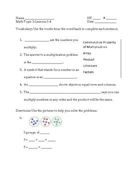 A quiz to go with Grade 3 Topic 1 concepts. Includes 5 vocabulary questions and 5 multiplication questions.