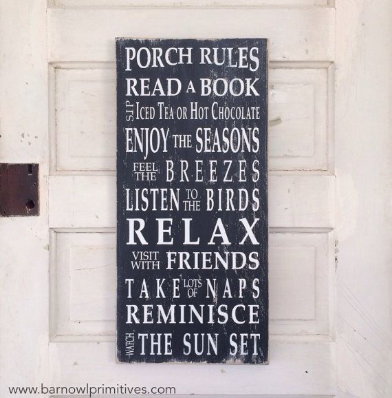 Porch Rules Sign The Original Typography par barnowlprimitives