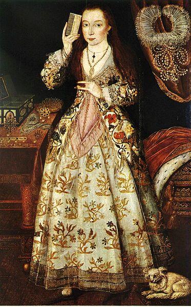 Elizabeth Vernon, Countess of Southhampton, c.1590, who looked a LOT like me.