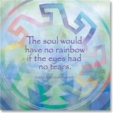 """A Native American proverb. """"The soul would have no rainbow if the eyes had no tears."""""""