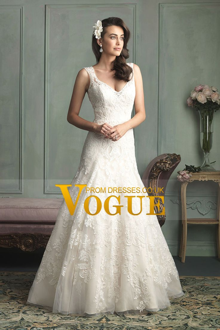 2014 Wedding Dress Straps Sheath Lace Bodice With Applique Beaded