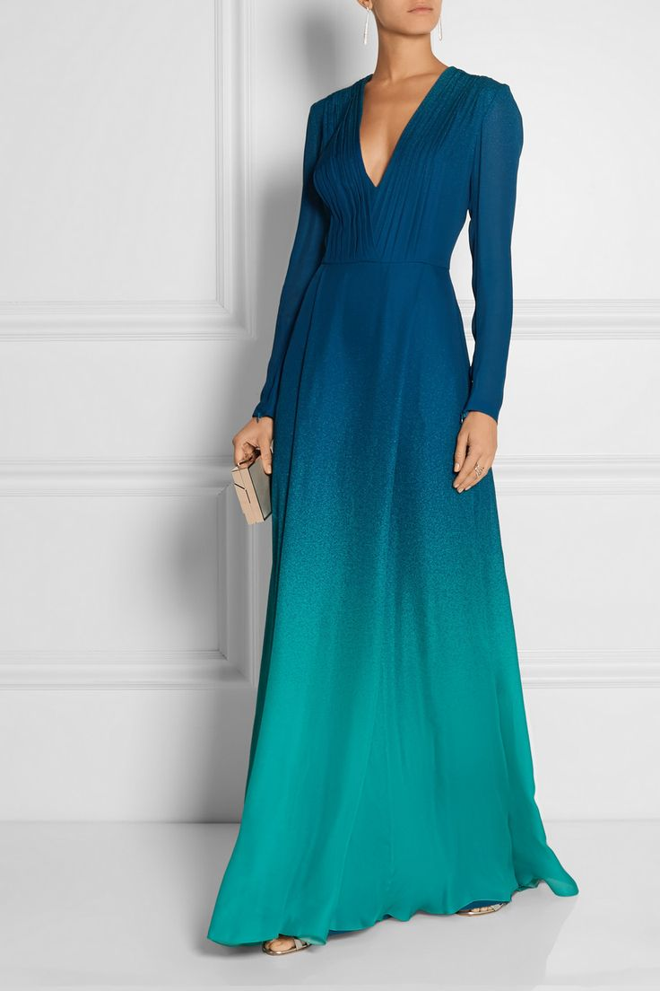 Elie Saab|Dégradé silk-georgette gown|EDITORS' NOTES & DETAILS Elie Saab's Spring '15 runway was aptly titled 'Dive into the Deep Blue.' With gorgeous ocean shades and a rippling hem, this silk-georgette gown has a pleated, plunging neckline that falls to a Pointillist-effect turquoise skirt. Wear yours with a box clutch and minimal jewelry.