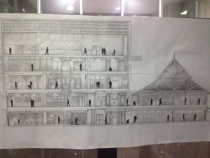 Potongan Orthografis Gedung Departemen Arsitektur #architecture #midterm #elevation #section #render #orthographis #interior