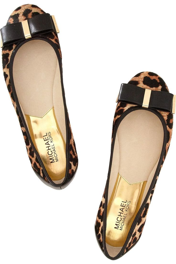 MICHAEL Michael Kors Kiera leopard-print calf hair ballet flats   net-a-por...
