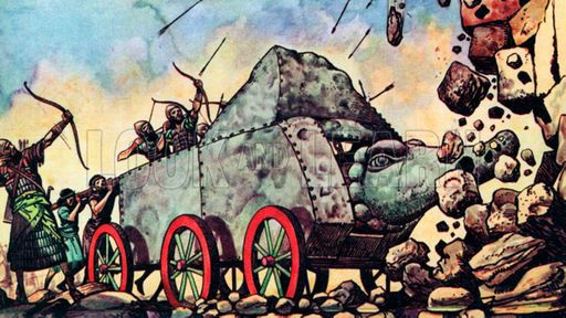   Assyrian battering ram:Assyria originated in the 23rd century BC, its earliest king Tudiya being a contemporary of Ibrium of Ebla.[3][4] It evolved from the Akkadian Empire of the late 3rd millennium BC.[5] Assyria was a strong nation under the rule of Ilushuma (1945–1906 BC), who founded colonies in Asia Minor and raided Isin and other Sumero-Akkadian states in southern Mesopotamia.