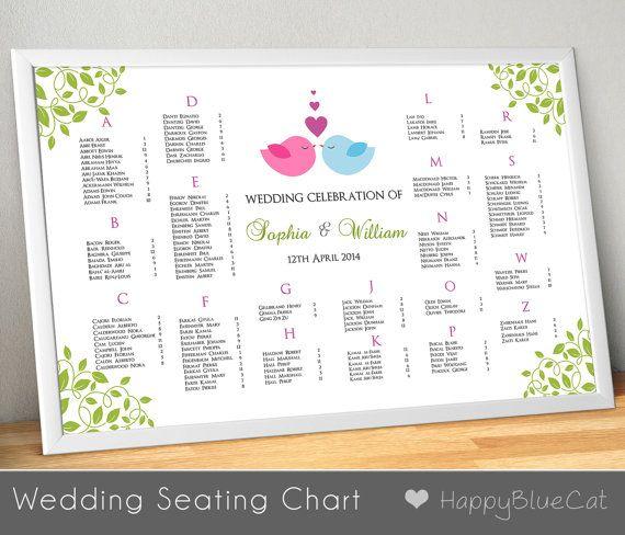 Wedding Seating Chart Wedding Seating Reception by HappyBlueCat, $35.00