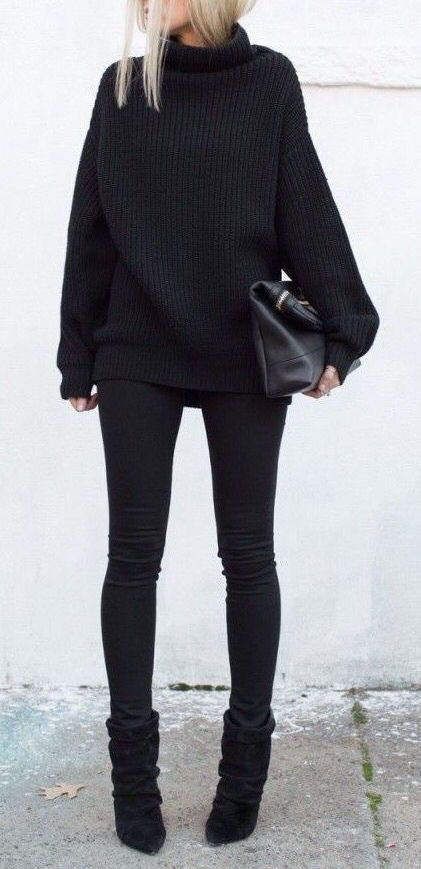 #winter #fashion / black turtleneck knit