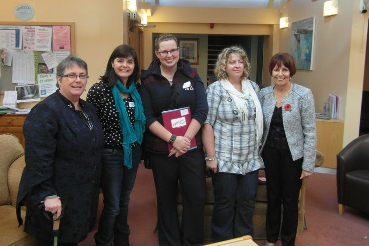 Five of us at the Hammer Out Awareness Day in the Mustard Tree Cancer Centre at Derriford Hospital today (9.11.13) R-L Me, Julie Liddle, Robyn, Katrina Pearce, Ann Coles. :)