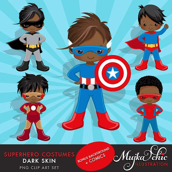 Dark Skin Superhero Costumes Clipart – Superhero comic bubbles, splash background & cute characters.