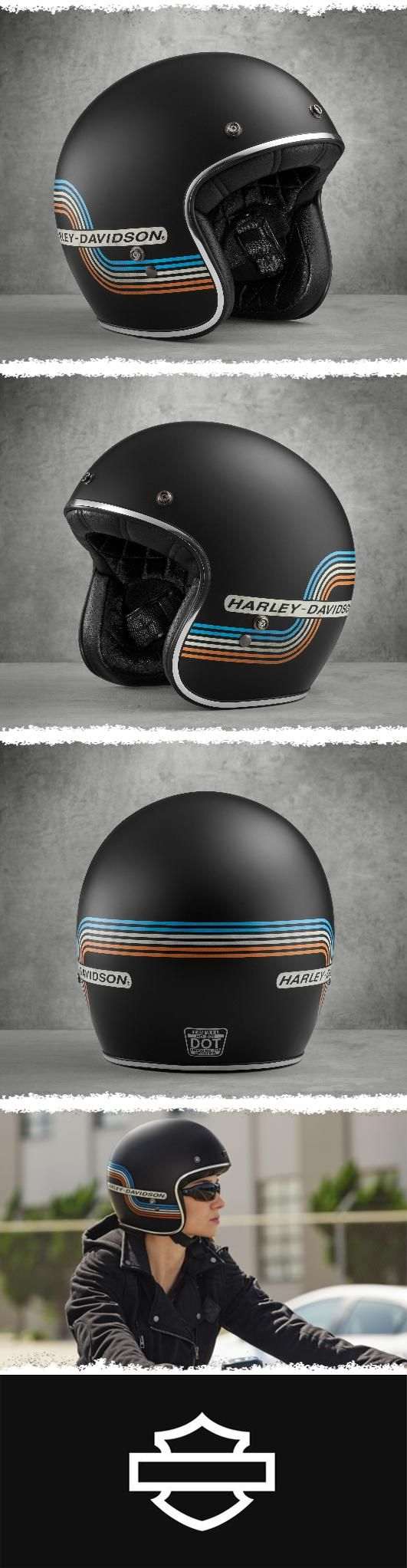 The look is old school, but the fit is contemporary thanks to a low-profile silhouette (no bobble heads!). | Harley-Davidson Retro Tank Stripe B01 3/4 Helmet