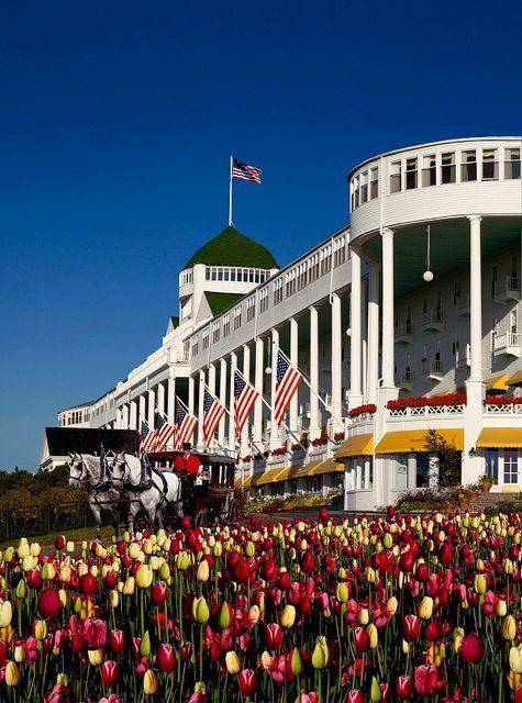 Grand Hotel - East end tulips - Mackinac Island