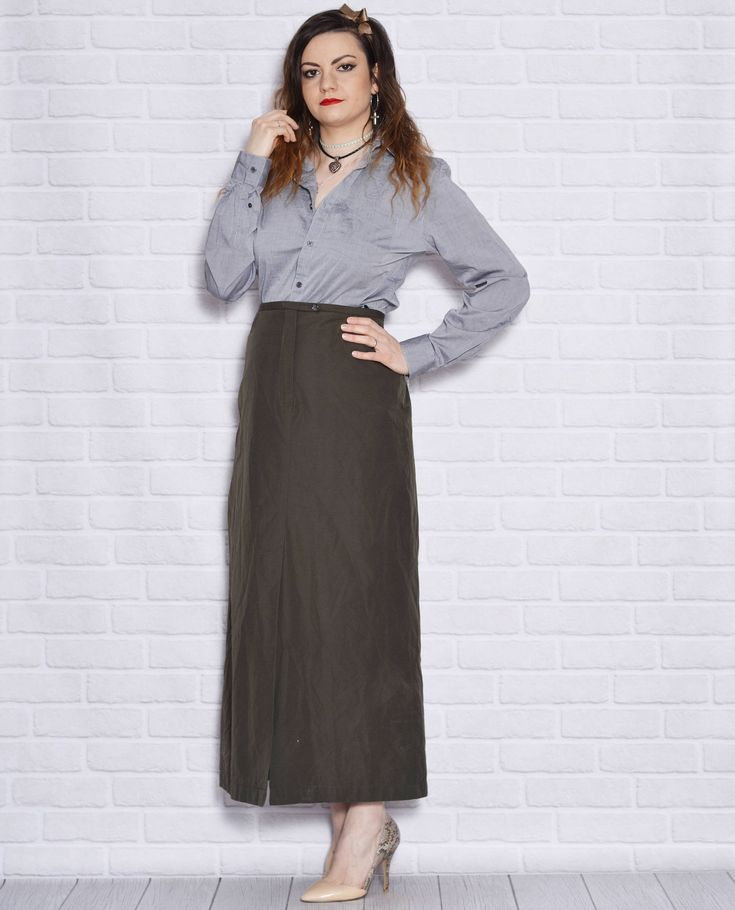 Plus Size Skirt Dark Green Olive Green Maxi Vintage Long Skirts Cotton Slit Women Pocket Boho Straight Women Clothing Outfit http://etsy.me/2o1esd5 #clothing #women #skirt #birthday #green #stpatricksday #xxlextralarge #plussizeskirt #darkgreenskirt