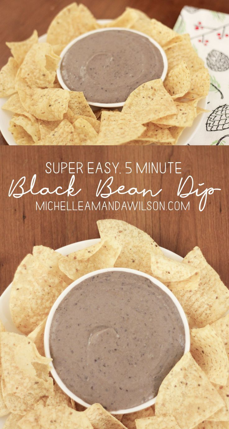 This hummus-inspired black bean dip recipe takes less than 5 minutes to make, uses healthy ingredients, and is perfect to serve at your next party! / Michelle Amanda Wilson