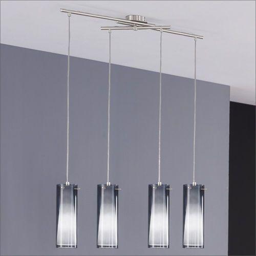Lampada lampadario sospensione regolabile acciaio cromo vetro fumè ...