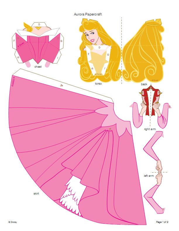 Disney 3d paper doll pattern - these could work as a cake topper!