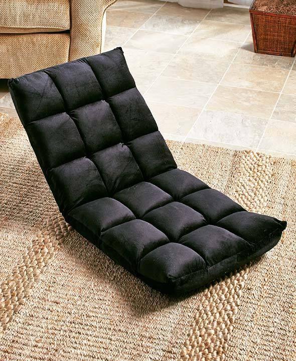 Adjustable Angle Cushion Floor Seat Chair Gaming Black ...