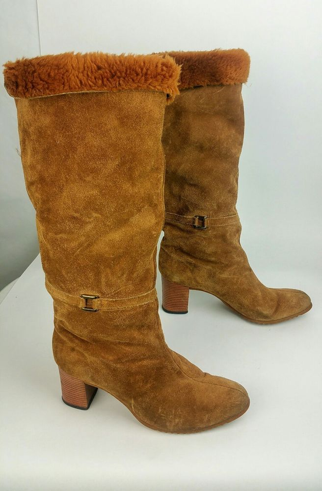Vtg Womens Suede Knee High Boots with Fur Knee High Brown 70s Fits 8 Narrow  #unbranded #KneeHighBoots #Casual