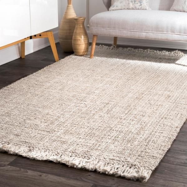 Nuloom Natura Chunky Loop Jute Off White 10 Ft X 14 Ft Area Rug Nccl01e 960136 The Home Depot In 2020 Jute Area Rugs Solid Color Area Rugs Cool Rugs