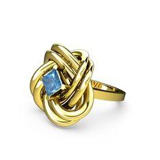 Taşlı Anela Yüzük - Akuamarin 14 ayar altın yüzük #k7gm0