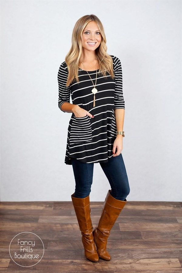 We are in LOVE with our new fabulous Striped Pocket tunic to add to your Winter wardrobe! We love the stripes and pockets to give this tunic a pop that is sure to have you turning heads! The tunic length is great for leggings or jeans. The cotton/poly material is great quality and so comfortable and flattering. This is sure to be your favorite new go-to tunic, you may need every color!Sizing: SM 0-4Med 4-8Large 8-12Model is wearing a size small. Fits true to size and is a loose, ...