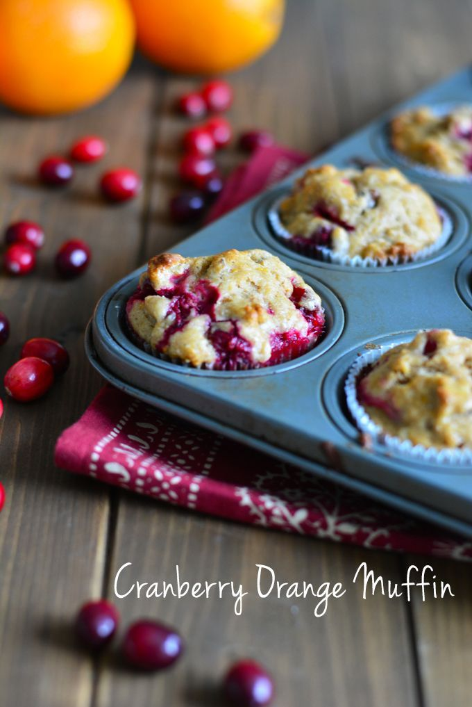 Cranberry Orange Muffin made from scratch with fresh fruit. Perfect for breakfast or a snack.