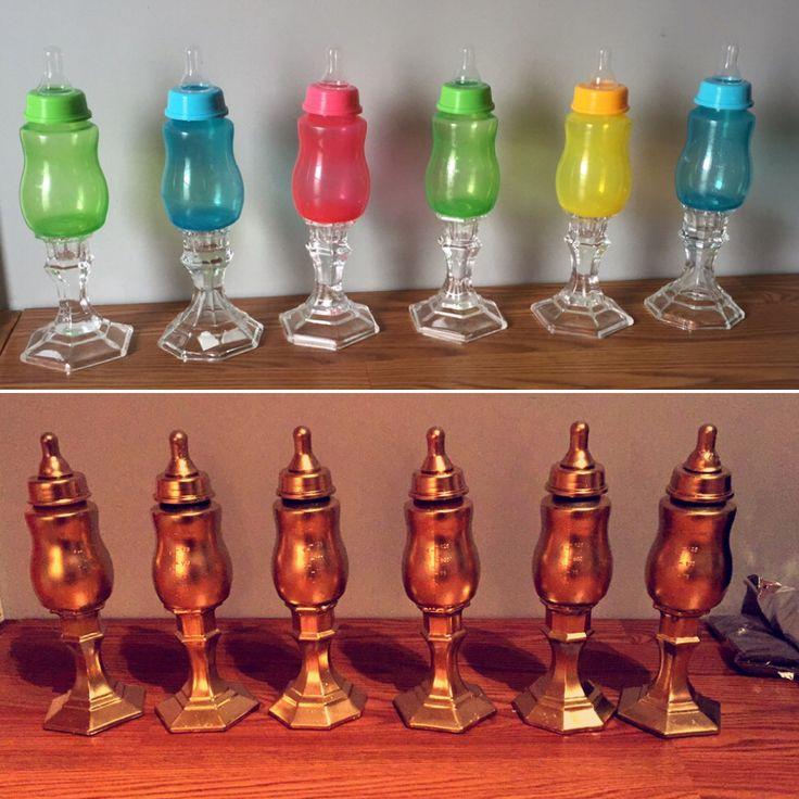 DIY bottle trophy for baby shower