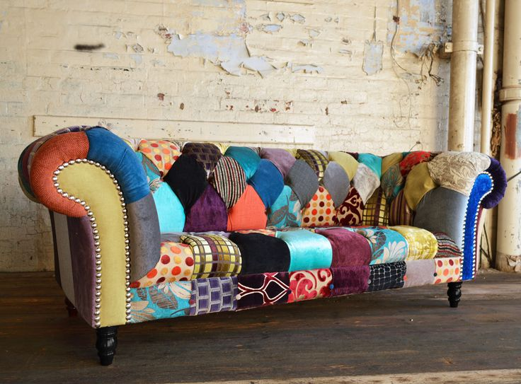 Modern British and handmade Patterned Patchwork Chesterfield Sofa. Totally unique fabric 3 seater, shown in a range of bold colours. | Abode Sofas