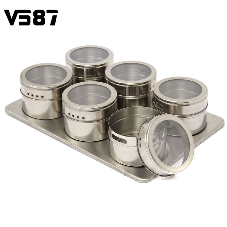 6pcs/Set Magnetic Spice Jar Seasonings Containers Flavor Condiments Storage Box With Holder Rack Kitchen Accessories
