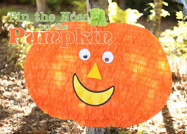 pin the nose on the pumpkin  Halloween party game