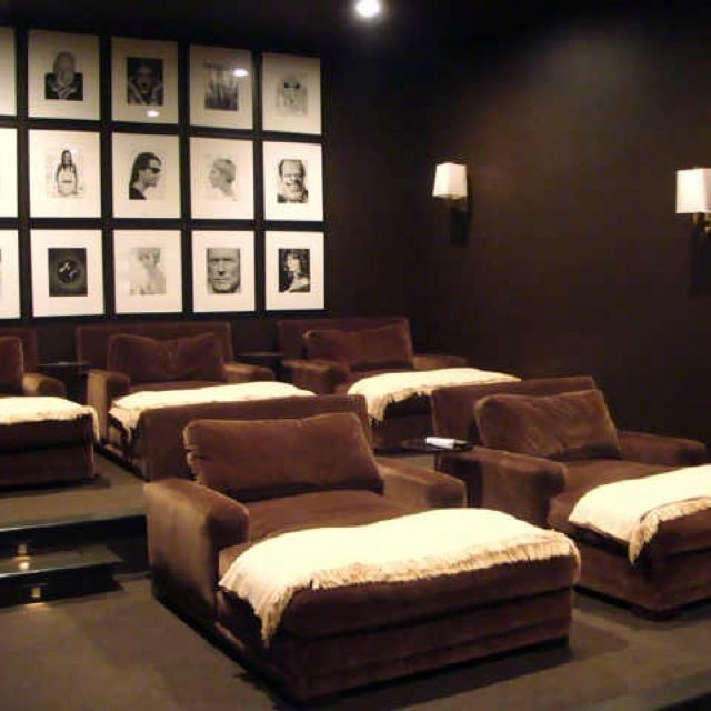 Media room- like the color scheme and the black/white celebrity photos on sound panels with black frames.