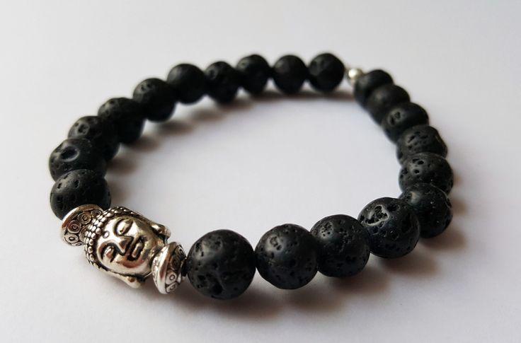 Unisex Black Lava Stone Buddha Bracelet by Wild Lotus Jewellery