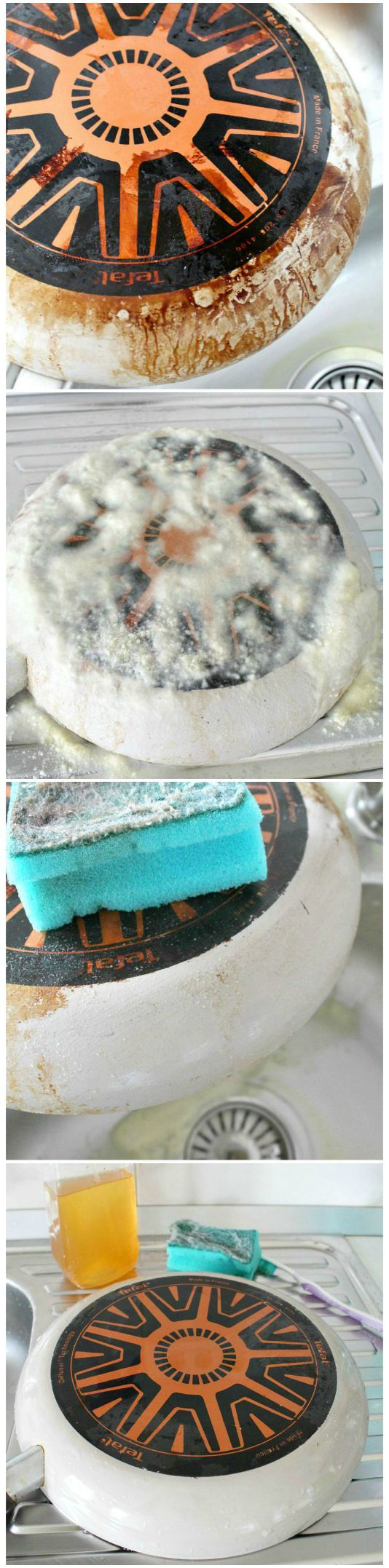 Natural way to clean pans and pots Tired of spending too much time scrubbing your pots and pans? This natural way to clean pans and pots is not only easy and enjoyable but it will extend the life of your pans and pots too. #cleaning #cleaningtips #homemaking