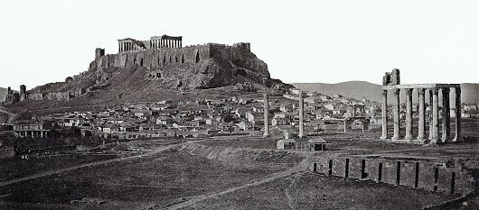 The name of the photographer who captured this amazing and crystal clear panoramic view of the Acropolis and Temple of Olympian Zeus is unknown, lost with passage of time, however, their remarkable image endures to this day.