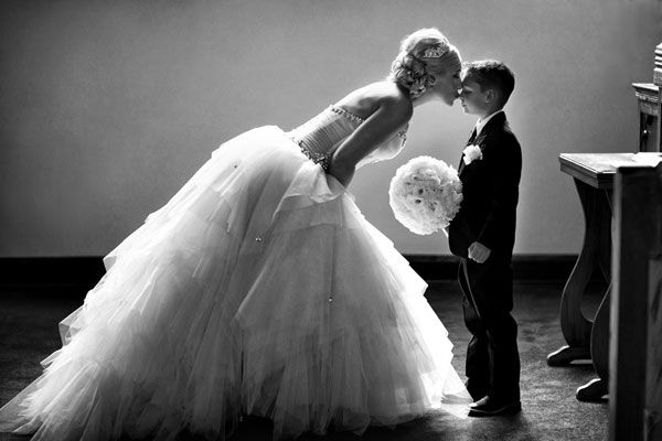 We love this tender moment between the bride and her son before walking down the aisle!