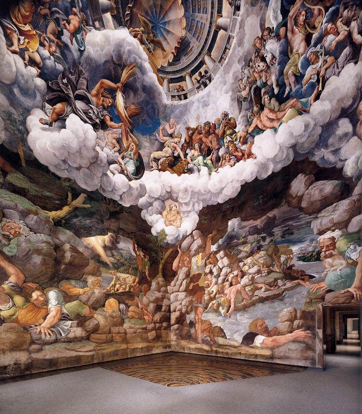 View of the Sala dei Giganti (south and west walls) 1532-34 Fresco Sala dei Giganti, Palazzo del Tè, Mantua, artist - Giulio Romano