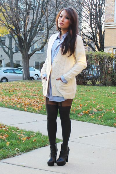 report-boots-walmart-shirt- with Suspender Tights