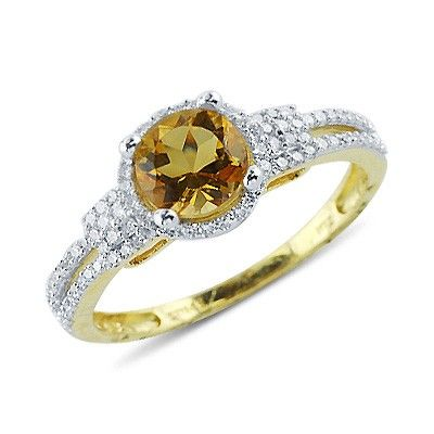 Solitaire Round Cut Prong Set Citrine Diamond Gemstone Ring in 14K Yellow Gold    $228.00