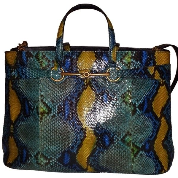 Pre-owned Gucci Python Bright Horsebit Large Multi Tote Bag ...