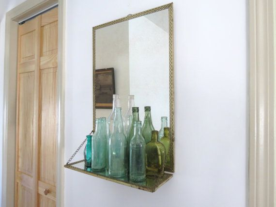 Photo Of Vintage Mirror with Shelf Mid Century Style Gold Metal Mesh Framed