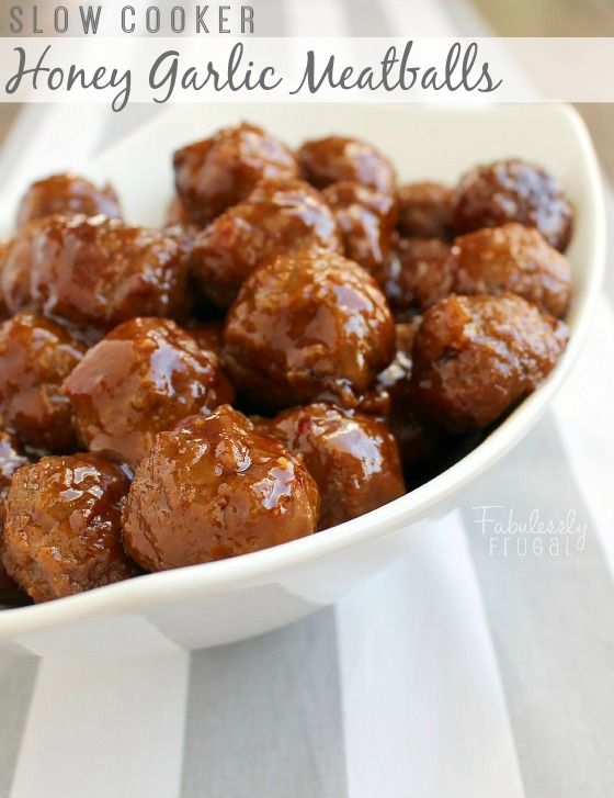 Easy Slow Cooker Honey Garlic Meatballs: An Easy Appetizer or Meal! I love keeping a bag of frozen meatballs in my freezer for recipes like this slow cooker honey garlic one!