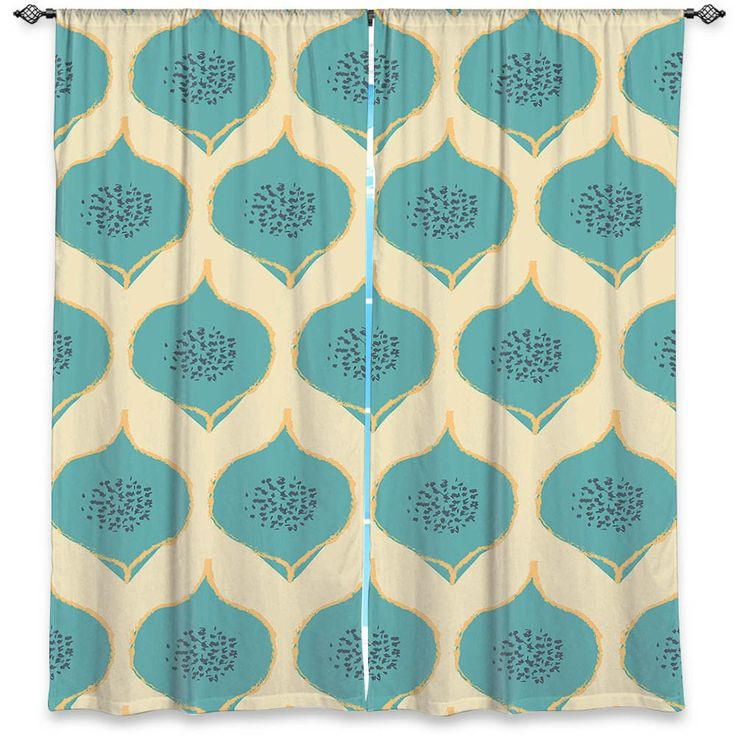 DiaNoche Designs Brings Zara Martinas Captivating Teal Petals To Your Home Via Unique Decorative Artistic Window Curtains