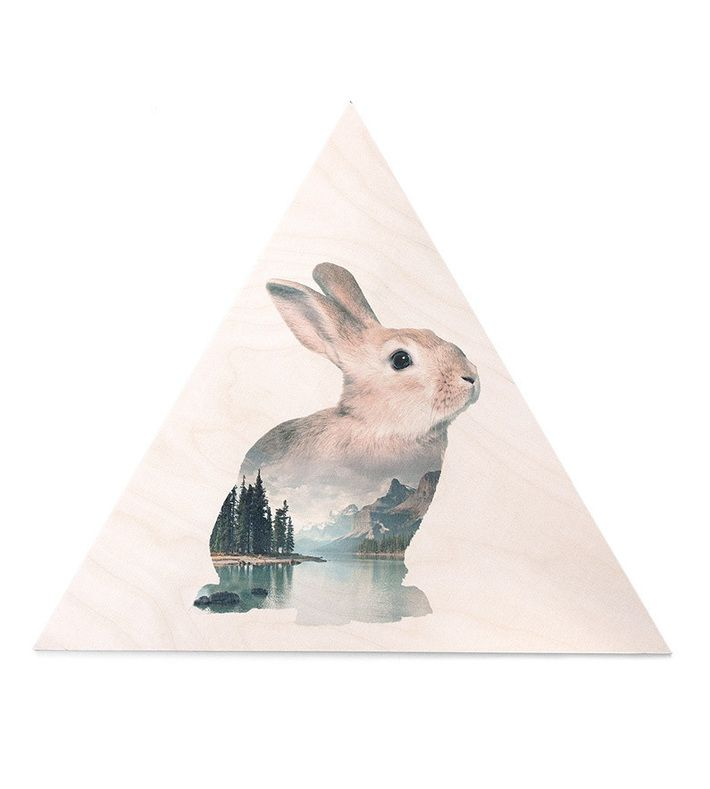 Faunascape Rabbit Plywood Print designed by WhatWeDo. Triangle shaped plywood board with UV-print and hanging device. Size: 45 x 39 cm.  The Faunascape animal portraits are mind dazzling landscapes that unfolds inside monumental animal silhouettes. #plywood #print #art #animal #landscapes #faunascapes #artprint #faunascape