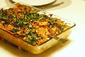 Mørbrad i fad med løg, porrer og champignons