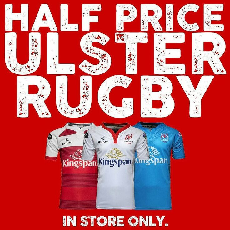 Big rugby weekend so it's time for a BIG SALE!! Half price Ulster Rugby clothing in store now. 50% off the lot! #ulsterrugby #ulster #rugby #sale #grababargain #rugby