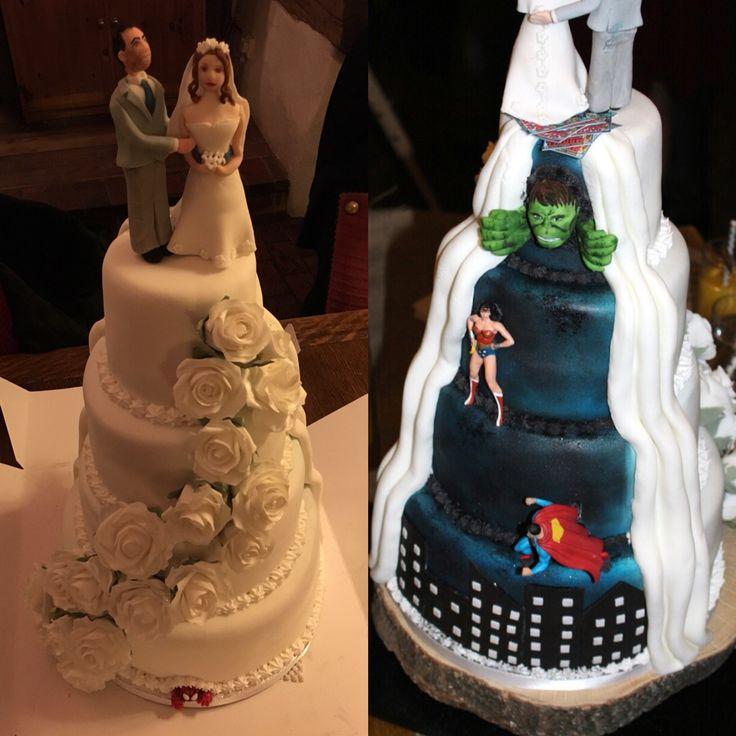 Our wedding cake, superhero theme with Spider-Man, Wonder Woman, the hulk and superman