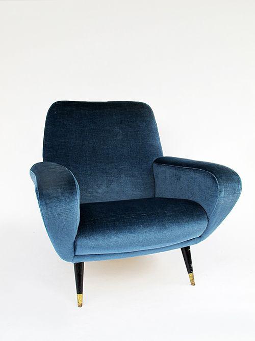 Velvet Lounge Chair | Gianfranco Frattini | MId Century Modern