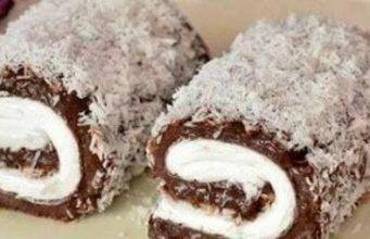 Nepečená roláda s kakaem a kokosem, kterou si připravíte během chvíle