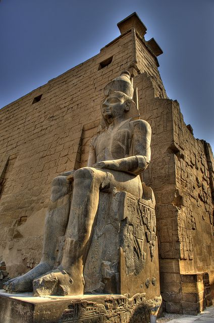 Luxor Temple Luxor, Egypt. This temple has a more unified plan than most Egyptian temples mainly due to the fact it was the work of only 3 Pharaohs. (although some research suggests 2) (www.bluffton.edu) The temple is huge in scale and once housed a village within its walls! I chose this picture to emphasis the huge scale in which a lot of Egyptian buildings were constructed.